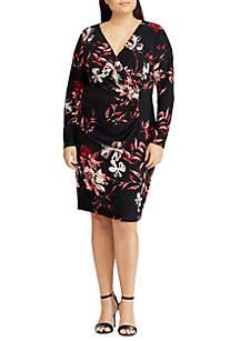 Floral Shirred Jersey Dress