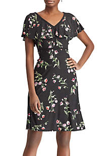 American Living™ Floral Ruffled Jersey Dress