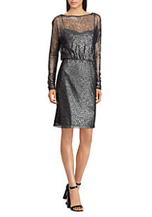 Metallic Floral Lace Dress