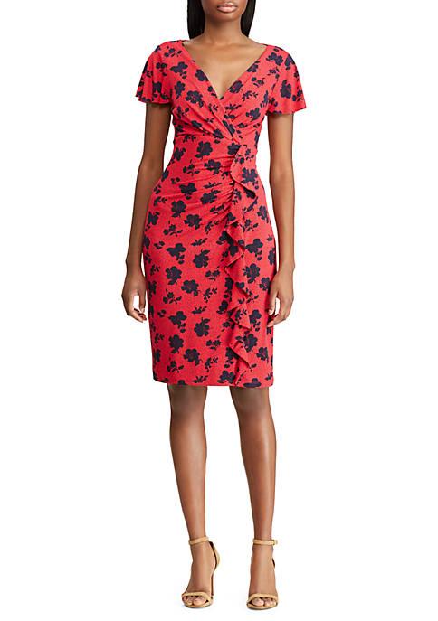 Floral Ruffled Jersey Dress