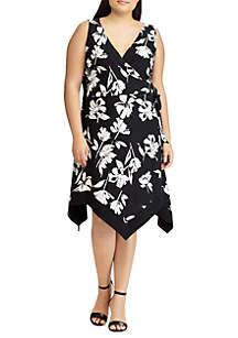 Plus Size Floral Jersey Wrap Dress
