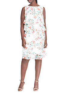 Plus Size Floral-Print Ruffled Popover Dress