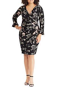 Plus Size Floral Ruffle Dress