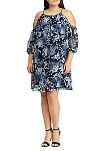 Plus Size Floral Georgette Cold-Shoulder Dress