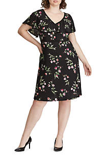 Plus Size Floral Ruffled Jersey Dress
