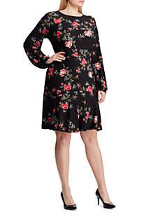 Plus Size Floral Drop Waist Jersey Dress