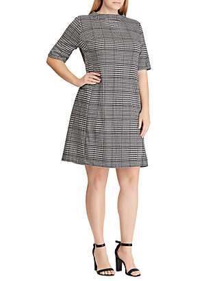 American Living™ Plus Size Houndstooth Plaid Jacquard Dress | belk