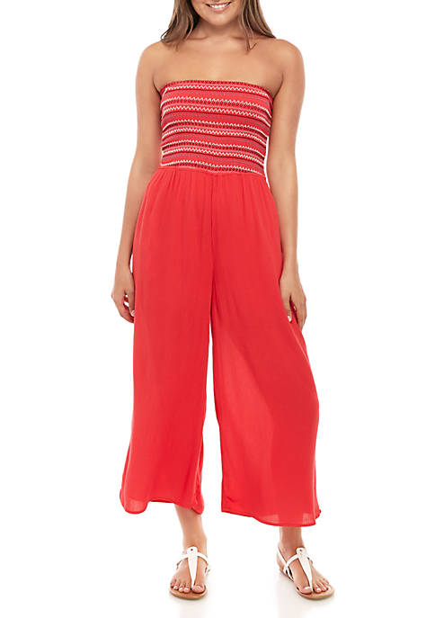Smocked Strapless Jumpsuit