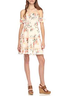 Floral Smocked Off The Shoulder Tiered Babydoll Dress