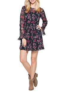 Long Sleeve Smock Waist Printed Dress