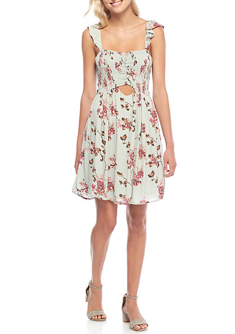 Taylor & Sage Cutout Front Swing Dress