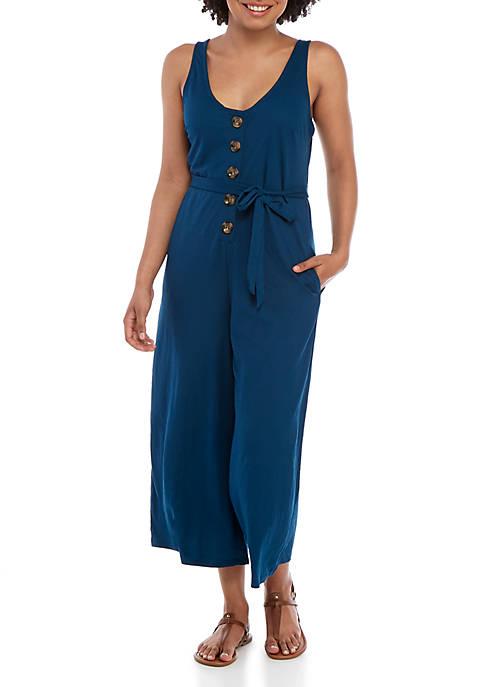 Knit Button Crop Jumpsuit