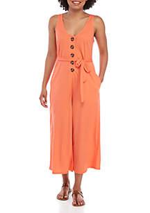 Taylor & Sage Knit Button Crop Jumpsuit