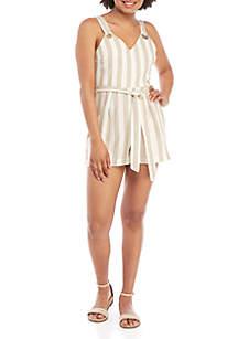 Taylor & Sage Sleeveless Striped Tie Waist Romper