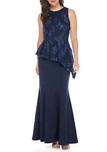 Sleeveless Peplum Gown