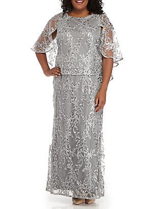 Plus Size One-Piece Long Sequin Caplet Dress
