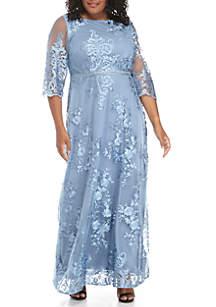 Plus Size Three-Quarter Sleeve Long Dress With Bead Trim