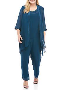 Plus Size 3-Piece Jacket Pant Set
