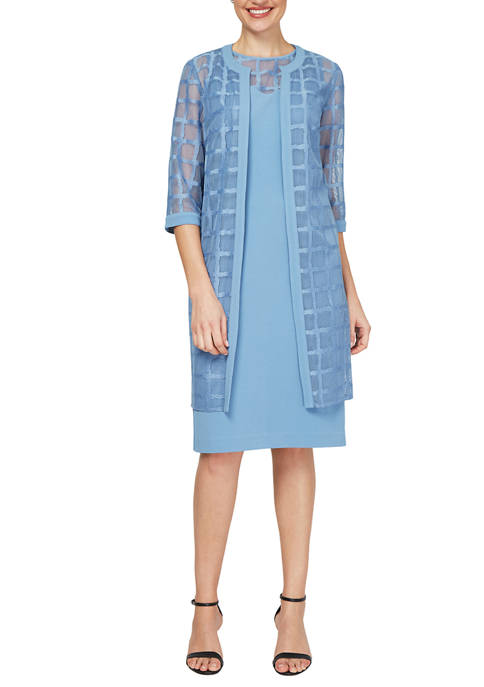 Textured Window Pane Topper Jacket and Dress