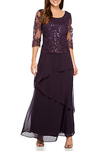 Three-Quarter Sleeve Lace Bodice Tiered Skirt Gown