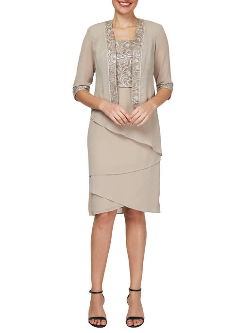 Le Bos Womens Embroidered Bodice Tiered Jacket Dress