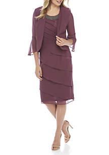 2-Piece Tuck Bodice Tiered Jacket Dress