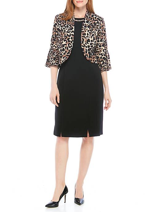 Maya Brooke Leopard Print Jacket Dress