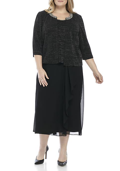 Dana Kay Three-Piece Glitter Jacket Tiered Dress