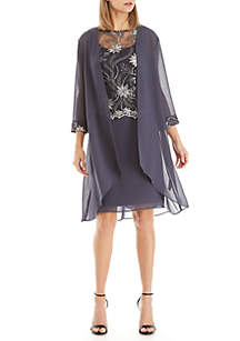 3/4 Sleeve Embroidered Chiffon 2-Piece Jacket Dress