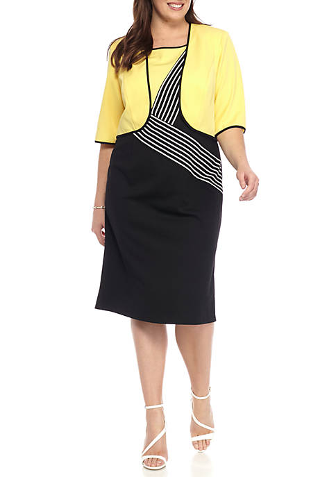 Maya Brooke Plus Size Stripe Jacket Dress Belk