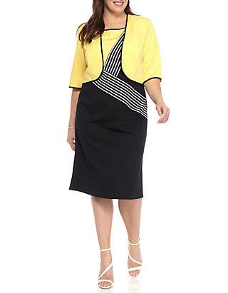 a06b927af50570 Maya Brooke. Maya Brooke Plus Size Stripe Jacket Dress