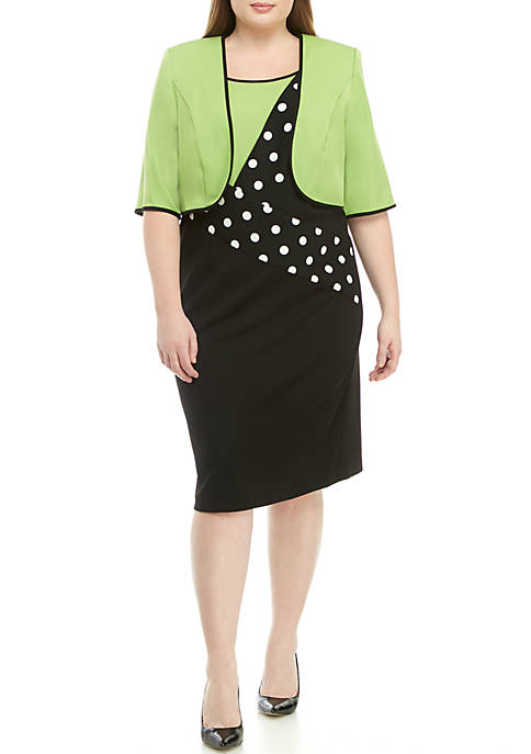 Plus Size Piping & Dot Jacket Dress