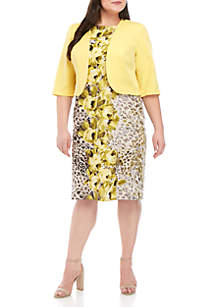 Maya Brooke Plus Size Solid Jacket with Floral Animal Print Dress Set
