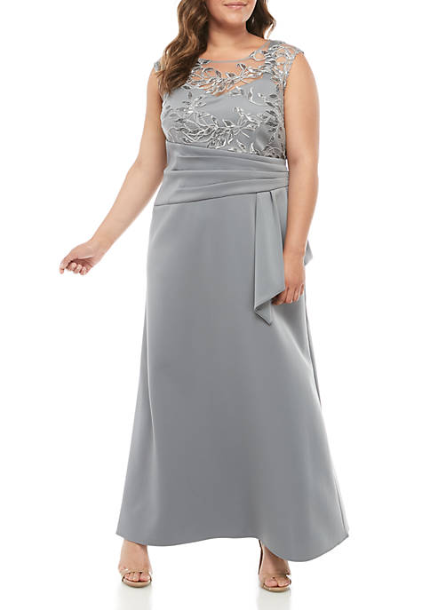 Plus Size Embroidered Mesh Bodice Gown