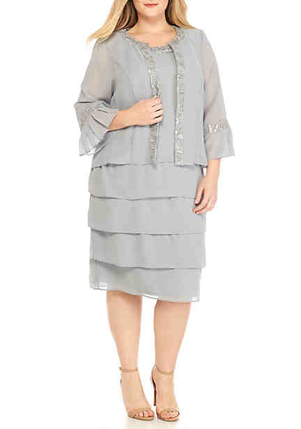 Le Bos Sequin Tiered Beaded Jacket Dress