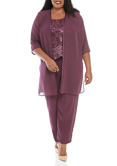 Plus Size 3-Piece Pant Set with Sheer Jacket