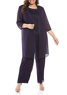 Le Bos Plus Size 3-Piece Pant Set with Sheer Jacket