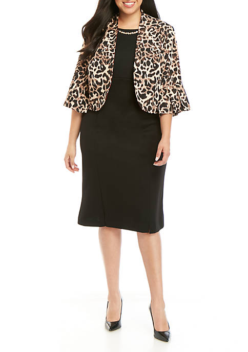Maya Brooke Plus Size Leopard Print Jacket Dress