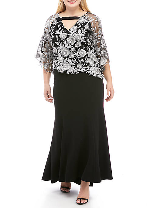 Le Bos Plus Size Embroidered Gown