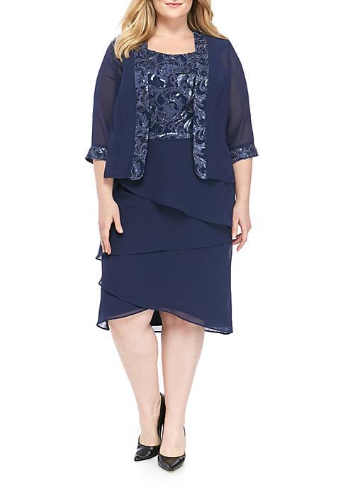 BRIANNA Plus Size Sleeveless 2 Piece Tiered Jacket
