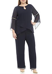 Le Bos Plus Size Pearl Sleeve Top Pants Set