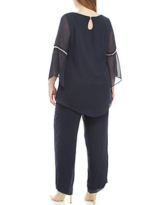 Le Bos Plus Size Pearl Sleeve Top Pants Set | belk