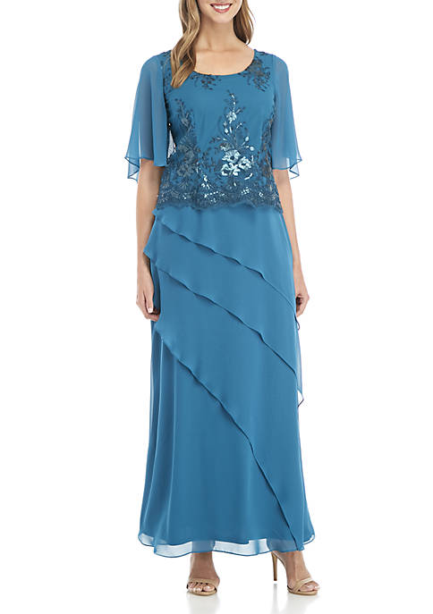 Maya Brooke Sequin Embroidered Popover Chiffon Gown