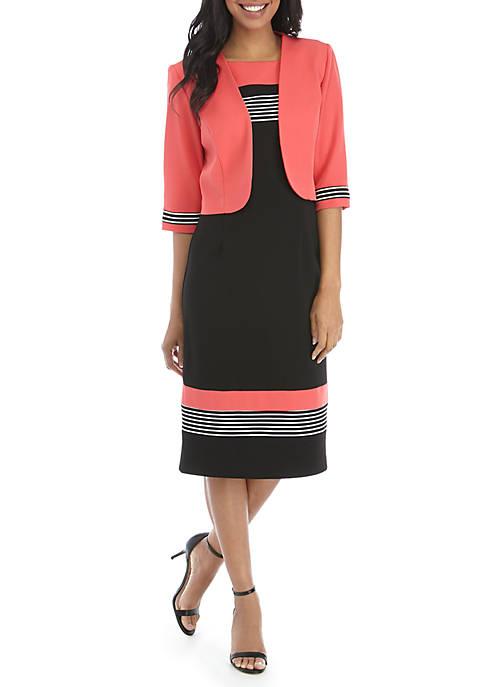 Jacket and Dress with Stripe Trim