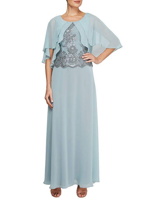 Le Bos Womens Capelet Gown with Sequins