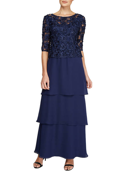 Le Bos Womens Embroidered Soutache Tiered Long Gown