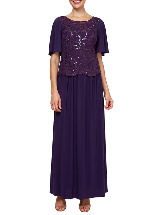 Le Bos Womens Long Embroidered Popover Gown