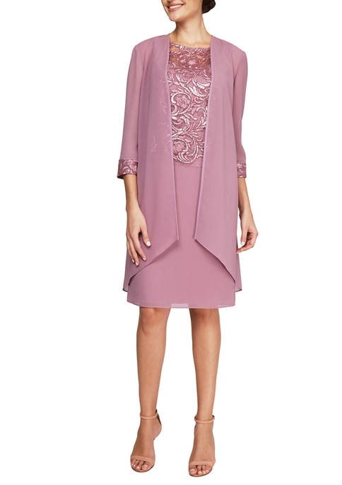 Le Bos Womens 3/4 Sleeve Jacket and Dress