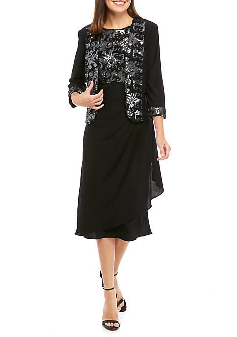 Le Bos Womens Social Tea Length Dress
