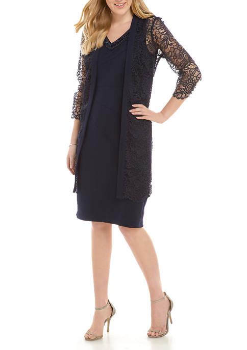 Maya Brooke Womens Lace Jacket Dress Set